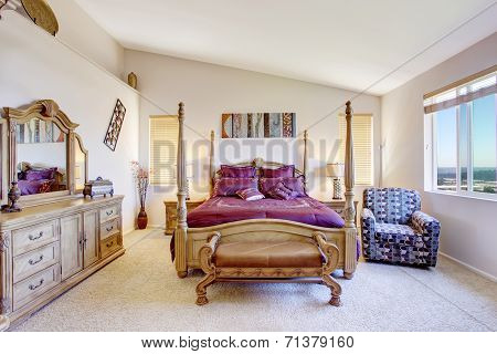 Luxury Bedroom With Carved Wood Furniture