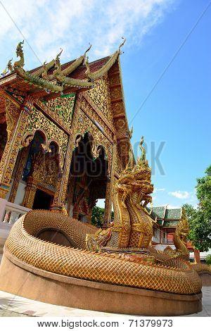 Traditional Thai Style Art Of Naga Statue In Thai Temple Of Buddhism, Wat Mahawan Temple In Lamphun,