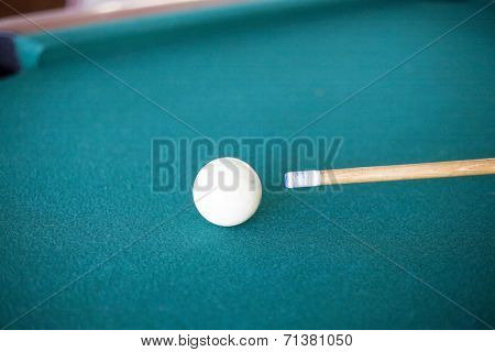 Pool White Ball And Cue