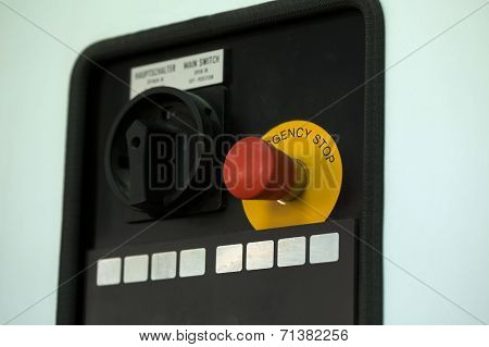 Image of emergency stop lever, close-up
