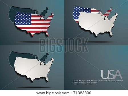 America/USA Map and flag