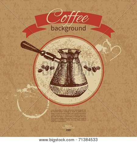 Hand drawn vintage coffee background. Menu for restaurant