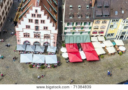 Medieval Buildings In Freiburg Im Breisgau At The Historic Market Place