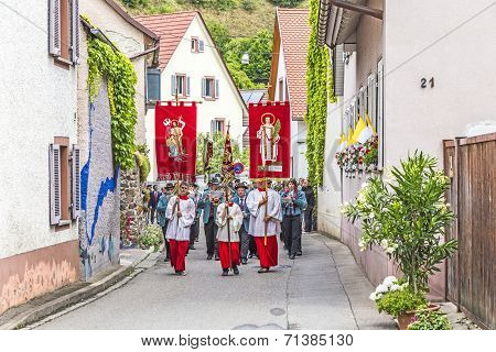 Johannis Procession In Oberrrotweil, Germany