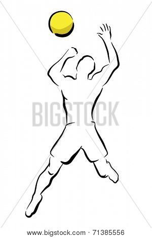 Sketch illustration of a man smashing a volleyball