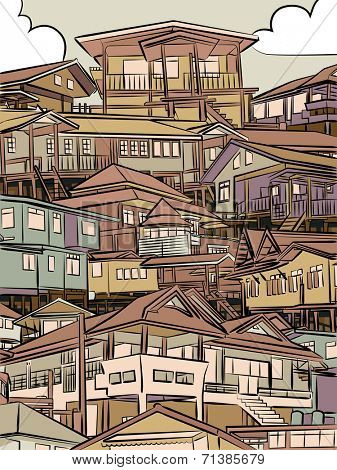 Illustration of closely packed houses on a hillside