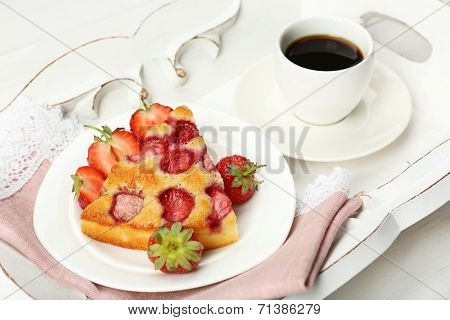 Delicious breakfast with coffee and tasty pie