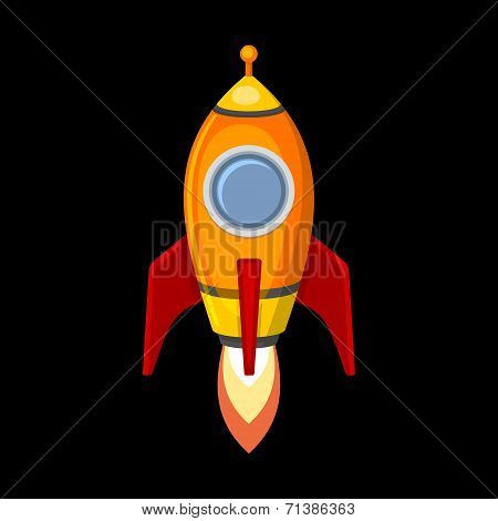Comic Rocket Ship in Cartoon Style. Isolated on Black. Vector