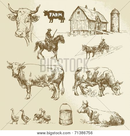 farm, cow, agriculture - hand drawn collection