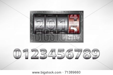 Old Metal Mechanical Counter With Year 2015