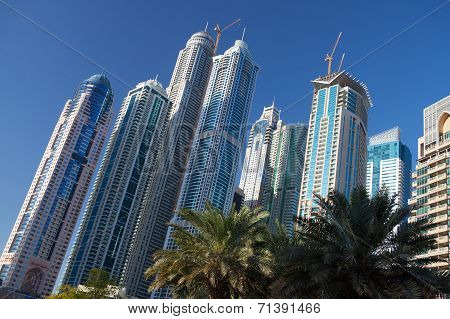 Modern And Futuristic Skyscrapers In Dubai Marina At