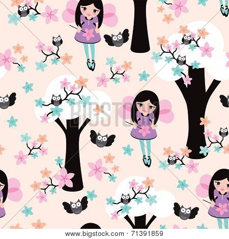 Seamless little girls illustration with owl trees and fairy blossom background pattern in vector