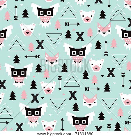Seamless Christmas time geometric pastel Scandinavian style owl bear fox illustration background pattern in vector