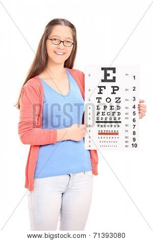 Young girl pointing on eyesight test with a stick isolated on white background