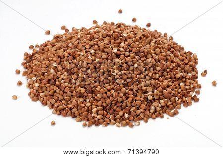 Pile Of Buckwheat On White Background