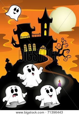 Haunted mansion with ghosts 2 - eps10 vector illustration.