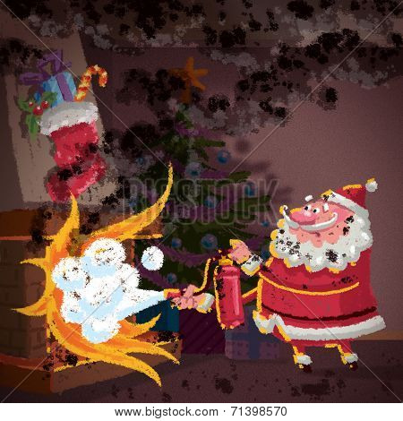 Santa Claus Cartoon Scene Trying To Control Fire In Fireplace