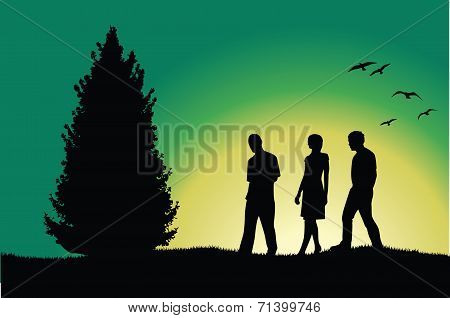 Two Men And Girl Walking On Hill Near Tree, Green Background