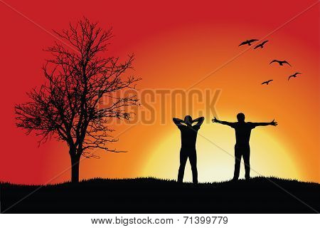 Two Men Standing On Hill Near Bare Tree, Red Background