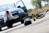 picture of accident emergency  - Horizontal view of a scared driver after accident - JPG