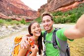 stock photo of two women taking cell phone  - Travel hiking selfie self - JPG