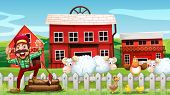 stock photo of barn house  - Illustration of a lumberjack and barns - JPG