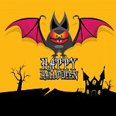 pic of bat  - vector happy halloween card - JPG