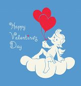 stock photo of cherubim  - Background design with loughing silhouette cupid holding two heart balloon - JPG