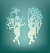 stock photo of samba  - silhouettes of a attractive  samba dancer queen - JPG