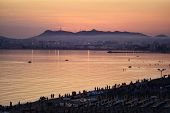 image of albania  - sunset over the beach of durres - JPG