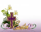 picture of easter lily  - Image and illustration composition Floral design for  Easter background - JPG