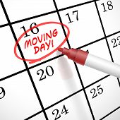 pic of possess  - moving day words circle marked on a calendar by a red pen - JPG