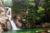 image of tourist-spot  - The tourists in China Qingdao laoshan scenic spot the cascades - JPG
