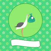 image of baby delivery  - A cartoon illustration of a stork with a newborn baby  - JPG