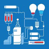 image of accumulative  - Electric scheme with light bulbs - JPG