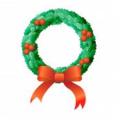 stock photo of christmas wreath  - Christmas wreath illustraton - JPG