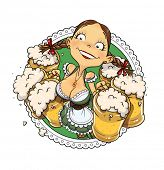 picture of national costume  - Oktoberfest girl with glass of beer - JPG