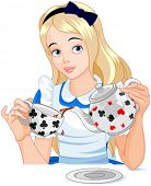 pic of alice wonderland  - Alice pours a cup of tea from the kettle - JPG