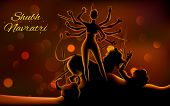 pic of durga  - illustration of sculpture of goddess Durga killing Mahishasura in Subh Navratri  - JPG