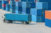 picture of dock  - A Truck in container depot at dock - JPG