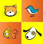 image of bird-dog  - vector pet icon set about cat - JPG