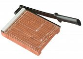 image of guillotine  - Close up Wooden Paper cutter in brown color isolated on white background - JPG