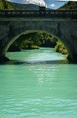 picture of na  - Emerald green waters of the alpine river Soca in Most na Soci  - JPG
