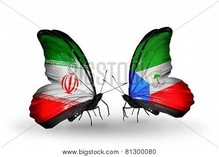 Two Butterflies With Flags On Wings As Symbol Of Relations Iran And Equatorial Guinea