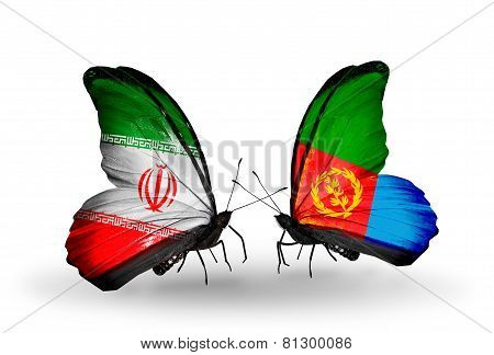 Two Butterflies With Flags On Wings As Symbol Of Relations Iran And Eritrea