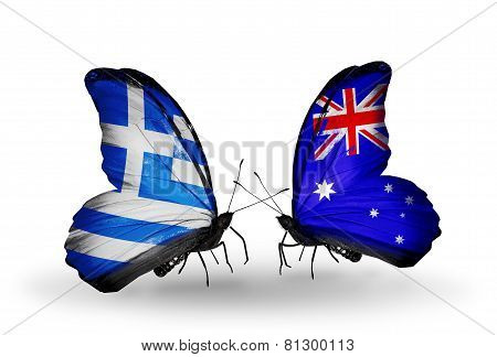 Two Butterflies With Flags On Wings As Symbol Of Relations Greece And Australia