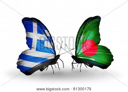 Two Butterflies With Flags On Wings As Symbol Of Relations Greece And Bangladesh