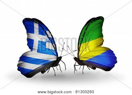 Two Butterflies With Flags On Wings As Symbol Of Relations Greece And Gabon