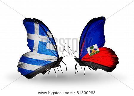 Two Butterflies With Flags On Wings As Symbol Of Relations Greece And Haiti