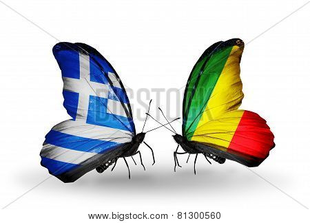 Two Butterflies With Flags On Wings As Symbol Of Relations Greece And Kongo
